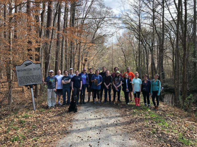 BIOL 455 students pose in front of Washington's Ditch at the Great Dismal Swamp