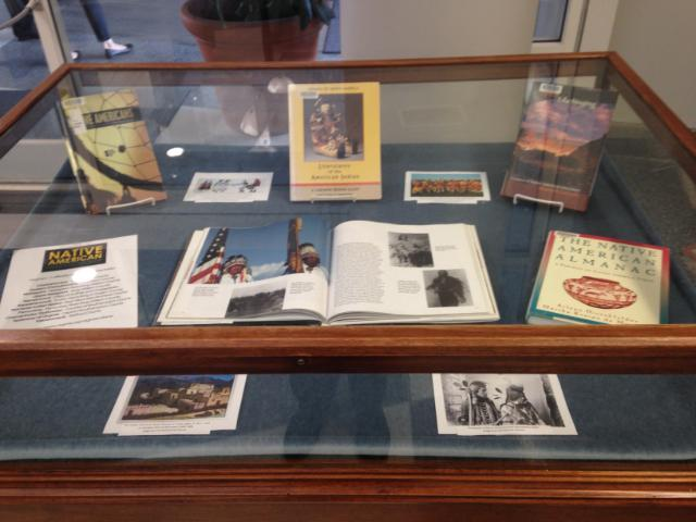 Native-American books in the Greenwood Library display case.