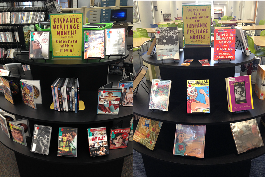 Hispanic books and dvds on display