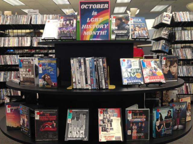 Photo of LGBTQ dvds on display